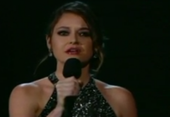 Brooke Axtell at 2015 Grammy Awards, trying to bring awareness to the sex trafficking crisis  photo/ screenshot CBS coverage
