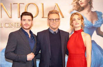 "Richard Madden, Kenneth Branagh, Lily James at the ""Cinderella"" screening in Italy, photo Getty"