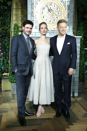 "Richard Madden, Lily James and director Kenneth Branagh at ""Cinderella"" screening Moscow, photo Getty Images"