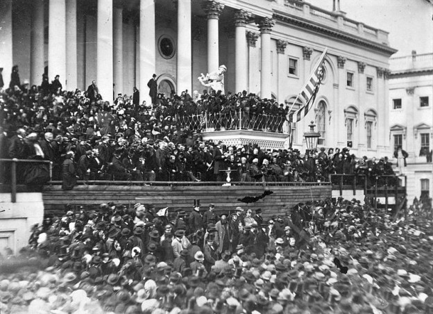 Abraham Lincoln delivering his second inaugural address as President of the United States, Washington, D.C. on March 4, 1865  photo/ Library of Congress