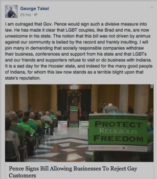 George Takei Facebook post gay marriage bill in Indiana