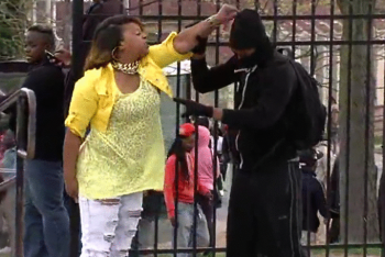 Baltimore mom pulling son out of freddie Gray riot