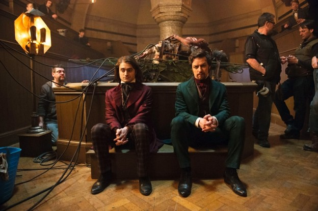 Daniel radcliffe and James McAvoy in Victor Frankenstein set photo