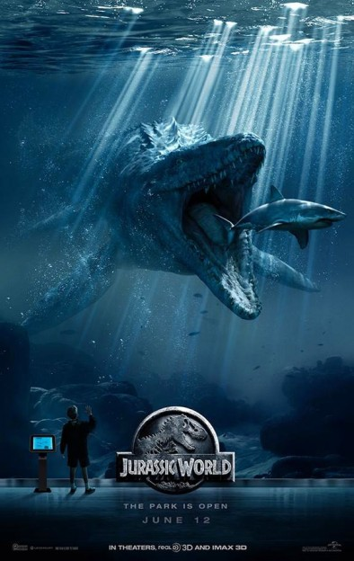 Mosasaurus eating great white shark Jurassic World movie poster