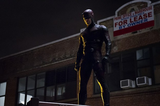Charlie Cox in full costume as Daredevil