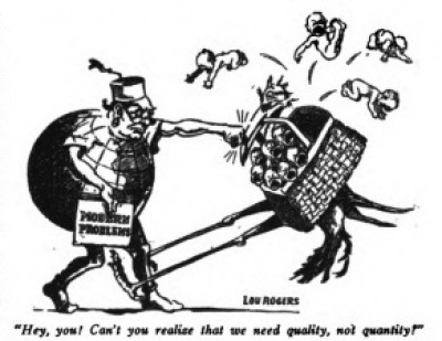 "Depiction of Sanger's ""quality not quantity"" message  1918 images"