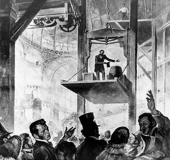 Elisha Otis demo of his free-fall prevention mechanism, Crytsal Palace, 1854  public domain photo