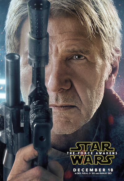 Harrison Ford as Han Solo Star Wars the force awakens poster