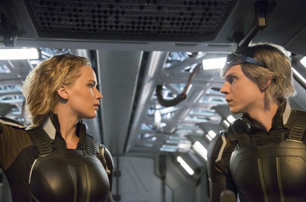 Jennifer Lawrence as Raven / Mystique and Evan Peters as Peter / Quicksilver in X-MEN: APOCALYPSE.