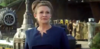 Carrie Fisher as Leia in Star Wars the Force Awakens