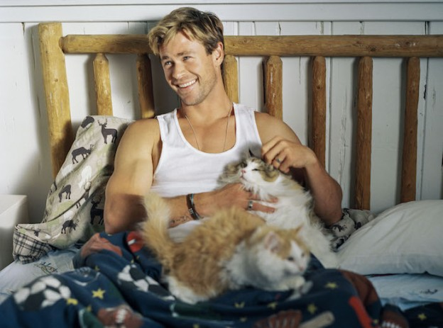 Chris Hemsworth with cat bruce weber photo