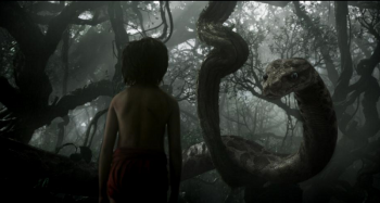 the jungle book Mowgli meets Kaa Neel Sethi Scarlett Johansson in jungle
