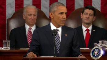President Obama delivering the 2016 State of the Union address photo/screenshot of video