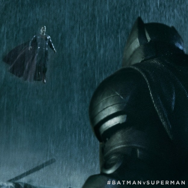 Batman v Superman showdown hashtag battle photo in rain