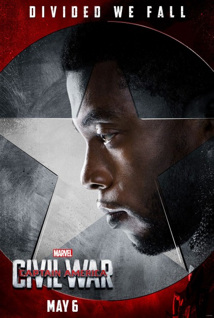 Captain AMerica civil War BLack panther T Challa Chadwick Boseman movie poster