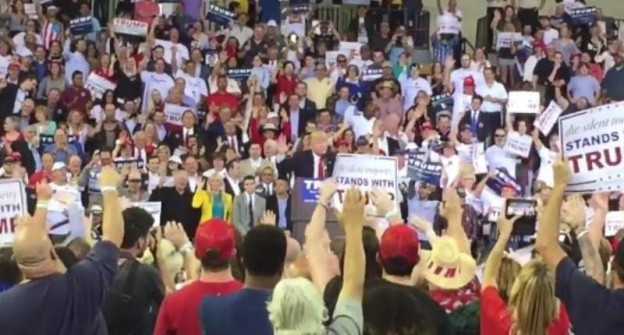 Trump supporters giving an oath, reminding some of the Hitler salute photo/ twitter
