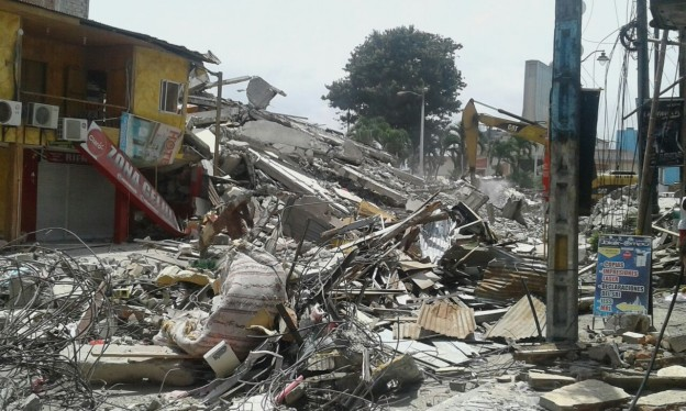 Entire neighborhoods on Ecuador's Pacific coast were flattened by the 7.8 earthquake. Photo courtesy of IOM