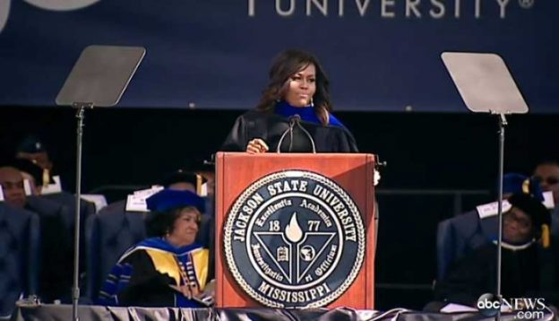 photo/ screenshot ABC video coverage Michelle Obama at Jackson State University