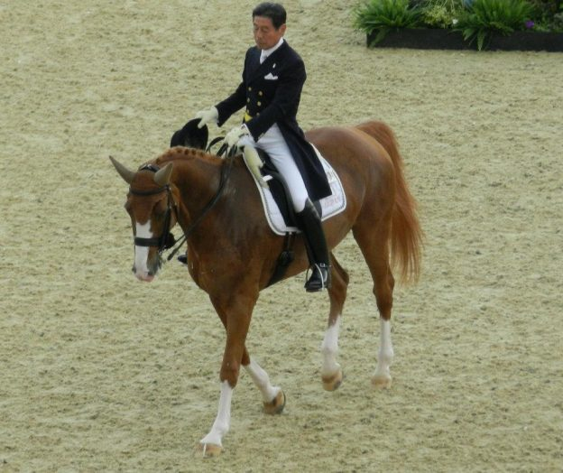 Hiroshi Hoketsu, the oldest competitor at the the London 2012 Summer Olympics photo/ The Rambling Man and Kim Ratcliffe of Think Equestrian via wikipedia