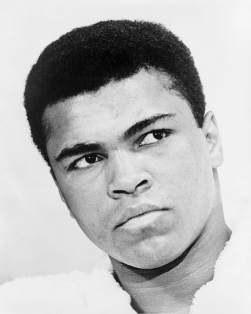 Bust photographic portrait of Muhammad Ali in 1967 World Journal Tribune photo by Ira Rosenberg