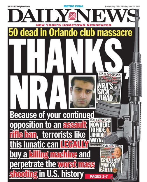 The New York Daily News began their coverage of the Orlando shooting by attacking the NRA
