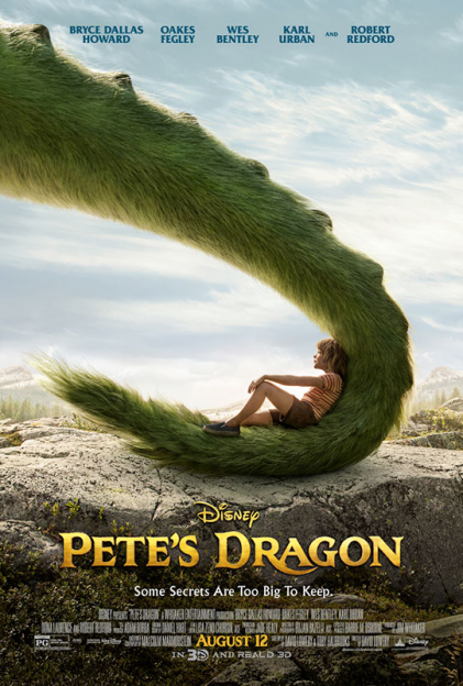 Pete's Dragon movie poster Pete laying in Elliot's tail