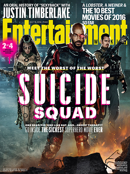 EW Suicide Squad cover Cara Delevingne Enchantress Will Smith Deadshot Joel Kinnaman Rick Flag