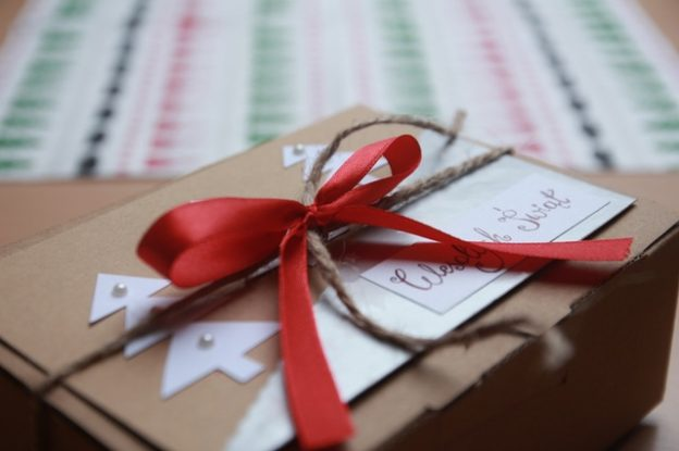 decorative box package gift with ties and a bow