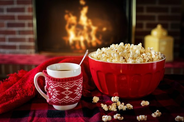 relax fireplace popcorn bowl