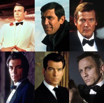 James Bond actors Sean Connery Roger Moore Daniel Craig Timothy Dalton pierce Brosnan George Lazenby
