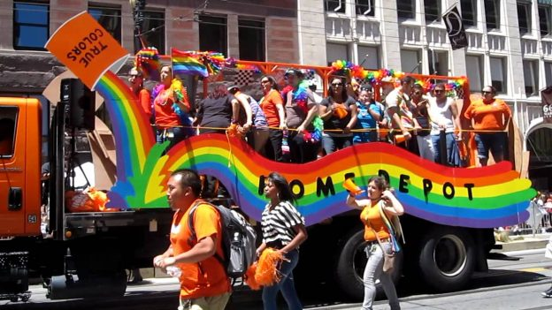 A Home Depot gay pride float photo/ YouTube screenshot of a 2011 event in San Francisco