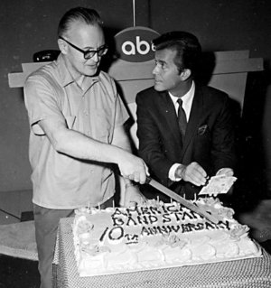 """Edward Yates and Dick Clark celebrating the success of """"American Bandstand"""" in 1967 photo"""
