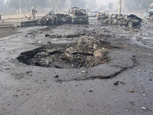 A photo of a previous car bombing and the crater left behind in Baghdad. Photo/Jim Gordon via wikimedia commons
