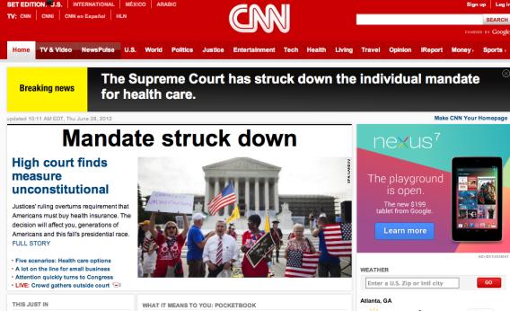 2012 headline from CNN