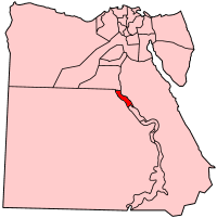 Map of Egypt showing Asyut governorate