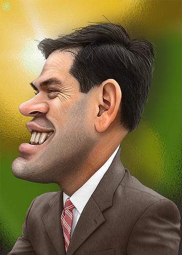Marco Rubio caricature cartoon