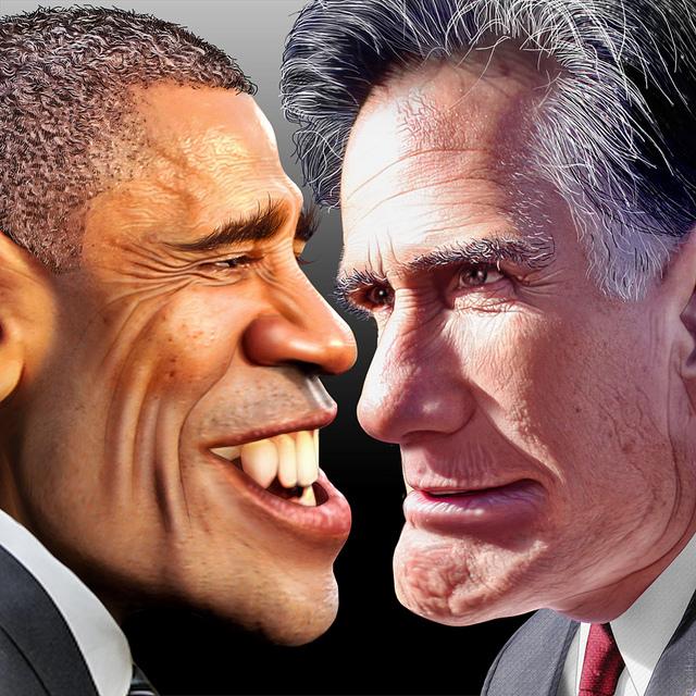 Obama Romney caricature cartoon