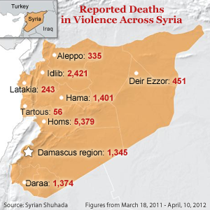 Reported Deaths in Violence Across Syria April 2012; numbers from Syria Shuhada; figures from March18, 2011 - April 10, 2012 Diagram by Voice of America