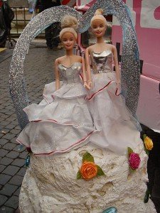 "Another ""gay cake"" controversy emerges in Colorado ""Lesbian"" wedding mock-cake at the Roma Gay Pride in 2008. Picture by Stefano Bolognini via wikimedia commons."