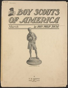 """Boy Scouts of America"" march (sheet music) Page 1 of 6  1916 Photo/John Philip Sousa public domain via wikimedia commons"