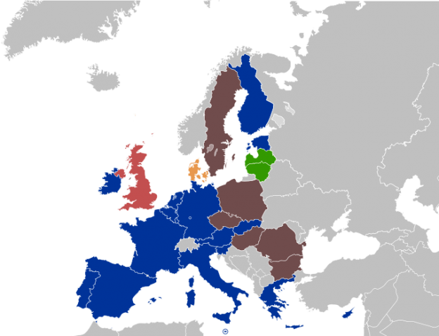 Eurozone map photo/Economic and Monetary Union of the European Union wikimedia commons