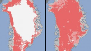 Photo from 2012 - note Greenland is still there and the seas haven't risen...yet Extent of surface melt over Greenland's ice sheet on July 8 (left) and July 12 (right). Measurements from three satellites showed that in just a few days, the melting had dramatically accelerated and an estimated 97 percent of the ice sheet surface had thawed by July 12. (Nicolo E. DiGirolamo, SSAI/NASA GSFC, and Jesse Allen, NASA Earth Observatory)