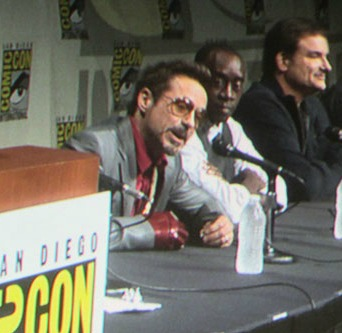 Robert Downey Jr sported an Iron Man glove as he entertained over 6,000 at San Diego Comic Con