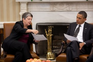 President Barack Obama meets with Homeland Security Secretary Janet Napolitano in the Oval Office, May 9, 2011. (Official White House Photo by Pete Souza)