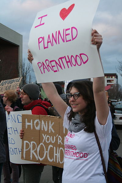 Planned Parenthood supporters at protest 2011 photo/S. MiRK via wikimedia commons
