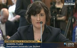 Screenshot CSPAN video Sandra Fluke testifying before Congress