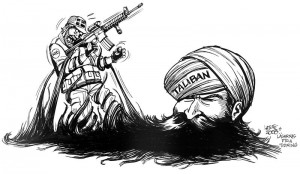 Taliban attacking NATO troops in cartoon by Carlos Latuff