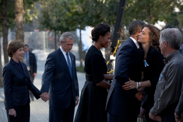 President Barack Obama and First Lady Michelle Obama, along with former President George W. Bush and former First Lady Laura Bush, greet family members and local dignitaries at the National September 11 Memorial in New York, N.Y., on the tenth anniversary of the 9/11 attacks against the United States, Sunday, Sept. 11, 2011. (Official White House Photo by Pete Souza)