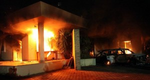 Benghazi is hardly a closed issue as the violence in Libya continues with the embassy closing Benghazi safehouse on fire following the September 11 attack photo supplied by State Dept