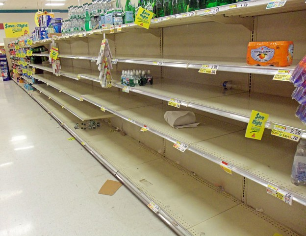Shelves at ShopRite in Montgomery, NY, USA, emptied of bottled water on eve of Hurricane Sandy  28 October 2012 Daniel Case photo